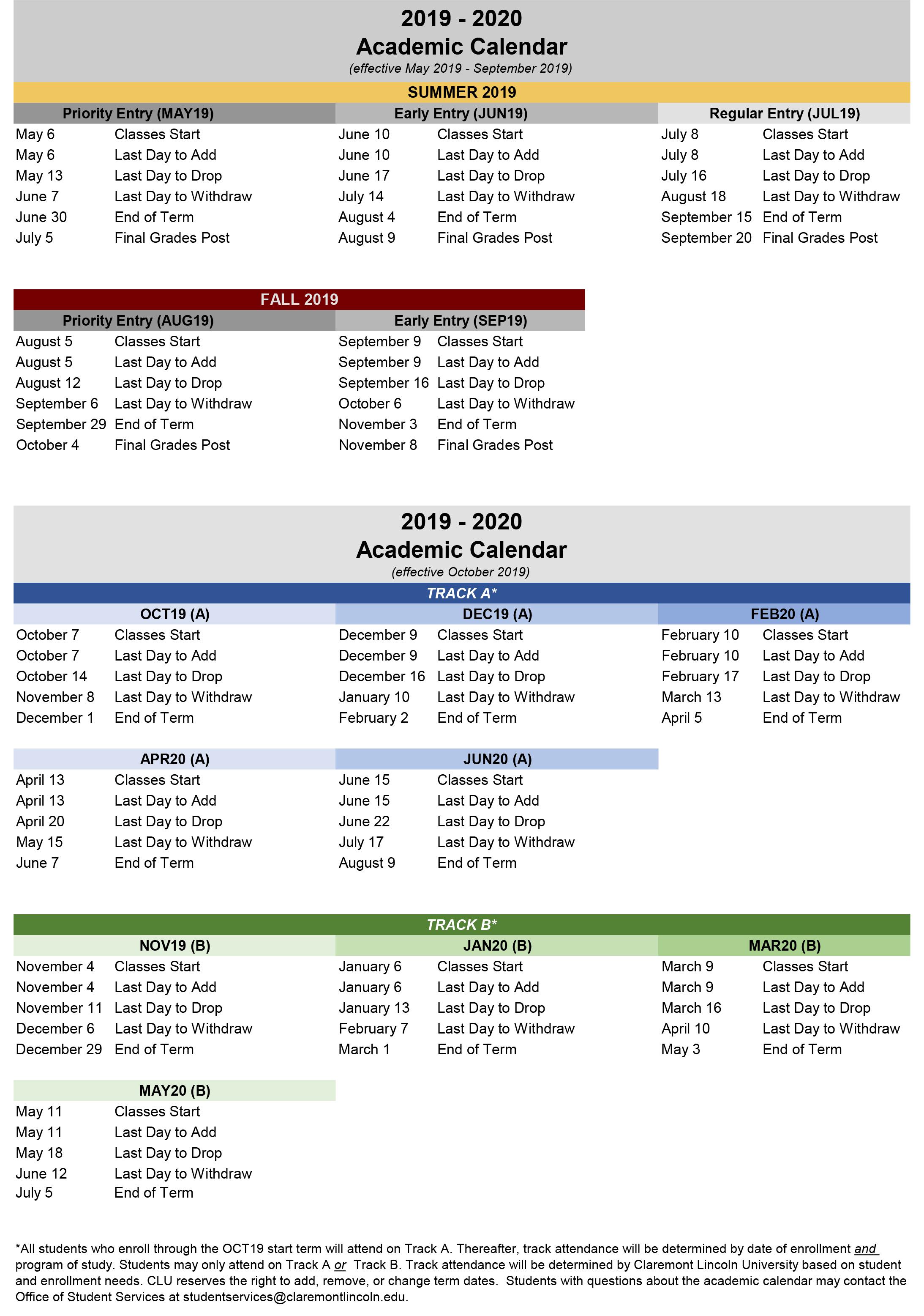 Mt Sac Academic Calendar 2020 Academic Calendar